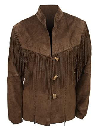 Classyak pour Homme Cowboy à Franges en Daim Cuir Manteau