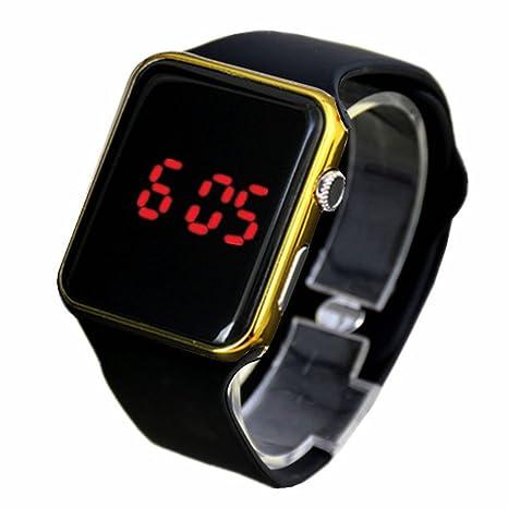 Espejo rectangular con reloj digital, Face silicona banda rojo LED Relojes Metal reloj de pulsera