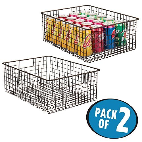 mDesign Kitchen Pantry Organizing Wire Basket with Handles, 16