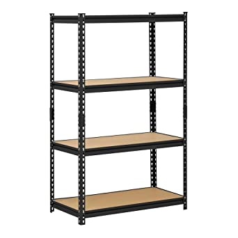 edsal ur 364blk black steel industrial shelving 4 adjustable shelves 3200 lb - Industrial Metal Shelving