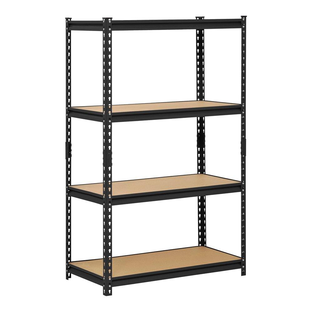 Edsal UR-364BLK Black Steel Industrial Shelving, 4 Adjustable Shelves, 3200 lb. Capacity, 60'' Height x 36'' Width x 18'' Depth
