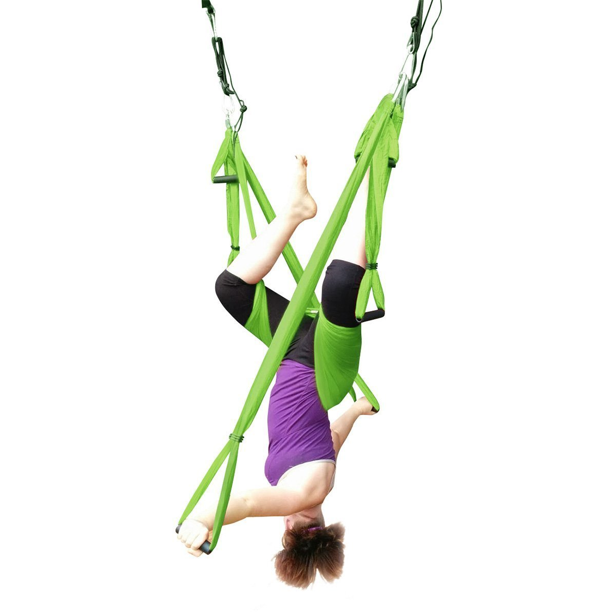 Ranbo exercises Yoga Inversion Swing - Anti-Gravity Aerial Trapeze movement - Flying Hammock Sling equipment- Relieves Back Pains, Improves your Strength, Balance, Flexibility and Endurance (Green)