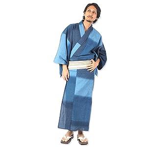 国産高級生地使用 浴衣4点セット浴衣 帯 下駄 腰紐 [段染め暈かし]・男性用お仕立て上がり (L, ブルー)