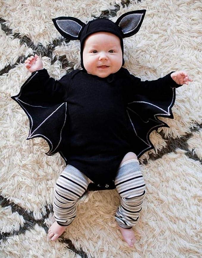 Ropa Bebé, Modaworld Bebés recién Nacidos niñas Traje de Halloween Mameluco Monos y Sombreros Gorras Disfraz de Bat Cosplay Chaqueta Conjuntos 0-24 ...