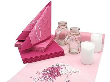 Zauberdeko Tischdeko Kommunion Konfirmation Pink Rosa Weiss Fisch Set