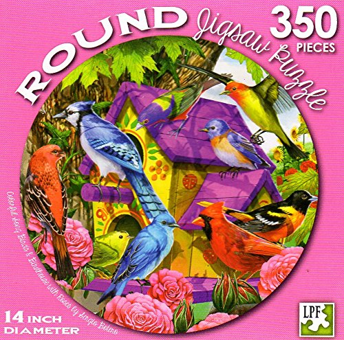 Colorful Song Birds & Birdhouse with Roses by Sergio Botero - 350 Piece Round Jigsaw Puzzle