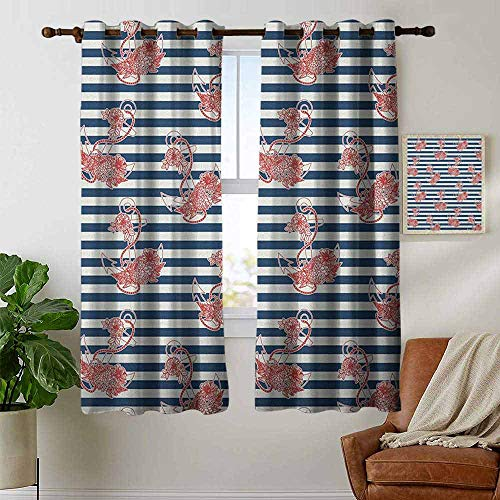 petpany Bedroom Curtain Anchor,Floral Anchor on Striped Surface Crescent Moon Cute Modern Spiritual Theme Art, Blue Red White,Insulating Room Darkening Blackout Drapes 52