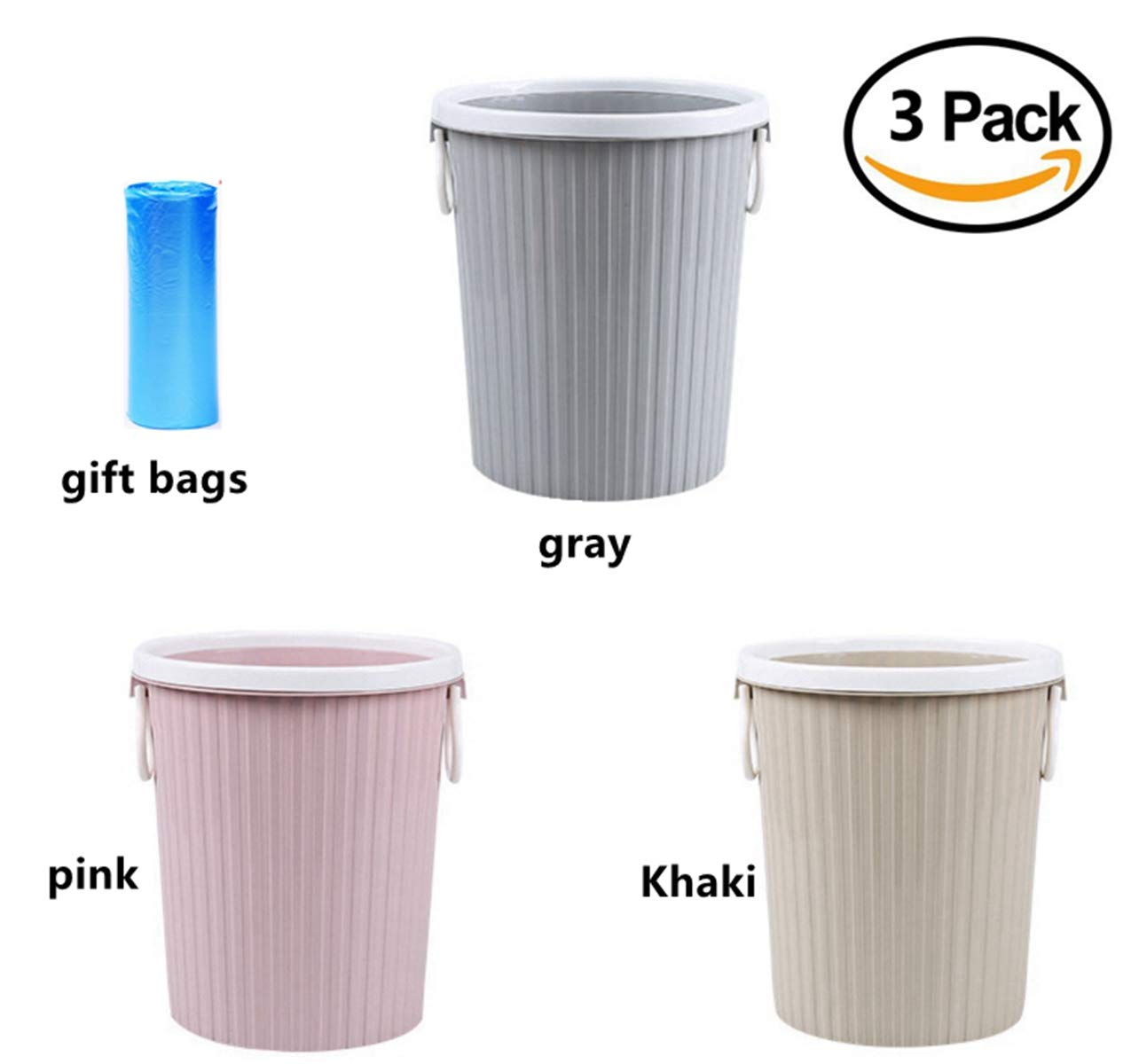 ZHOUWHJJ Round Plastic Trash Can Wastebasket Trash Bin with Trash Bags, Garbage Container Bin for Bathroom, Home, Kitchen or Office, 3 Pack, 3 Gallon Capacity