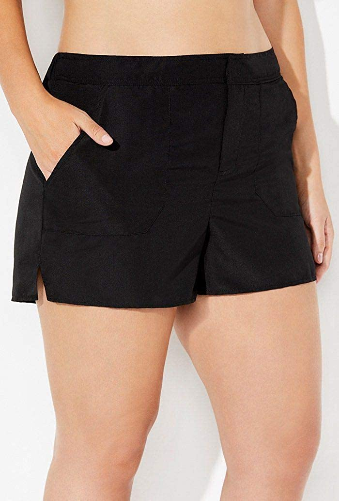 SWIMSUITSFORALL Swimsuits for All Womens Plus Size Side Tie Blouson Tankini Set with Cargo Short