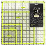Arteza Acrylic Quilters Ruler & Non Slip Rings - Double-Colored Grid Lines (4.5'X4.5', 6'X6', 9.5'X9.5', 12.5'X12.5', Set of 4)