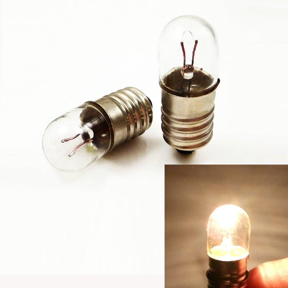 10 bombillas E10 24 V 5 W T10 x 28 Bombilla en miniatura Tornillo Base Lampara Blanco Cálido para bricolaje experiencia de enseñanza, 24V 3W