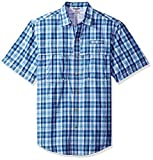 IZOD Men's Saltwater Easy Care Fishing Short Sleeve Shirt, True Blue, Large
