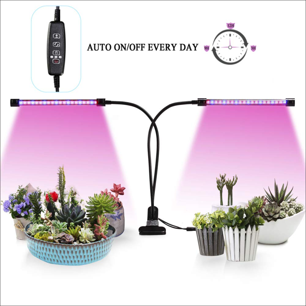 Led Grow Lights,Auto ON/Off Two-Way Timer 20W 40 LED Shengsite Dual Head  Growing Light for Indoor Garden Greenhouse Plants,3/9/12H Memory Timing,5  Dimmable ...