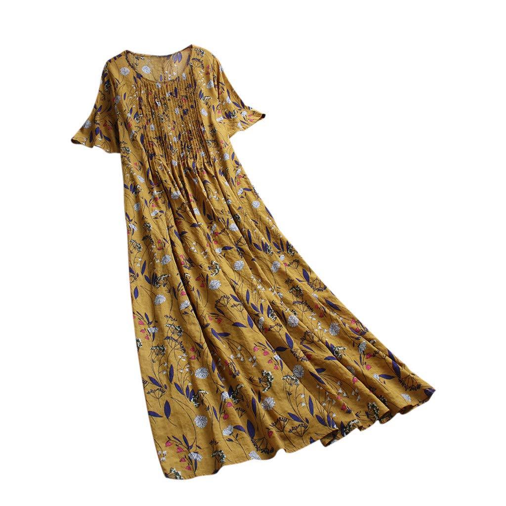 Scollo Rotondo Vacanze Stile Casual BOMING Vestito Lungo da Donna con Stampa Floreale Stile Vintage Boh/émien Estate