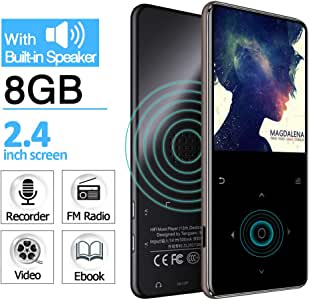 8GB MP3 Player with Built in Speaker 2.4 inch Screen Touch Buttons Metal Shell FM Radio Voice Recorder Ebook Clock Sport MP 3 HiFi Mini USB Music Player Portable Walkman GREATLINK (Gray)