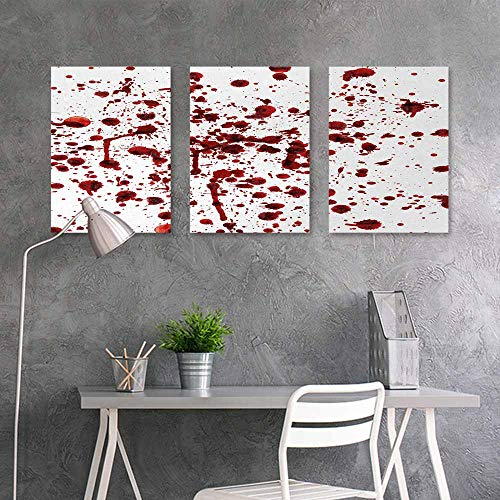 BE.SUN Modern Decorative Painting,Horror,Splashes of Blood Grunge Style Bloodstain Horror Scary Zombie Halloween Themed Print,Easy Care Oil Painting 3 Panels,16x24inchx3pcs,Red White -