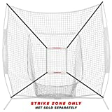 PowerNet Strike Zone Attachment for 7x7 Baseball Softball Net | Work on Pitching Drills and Location Accuracy | Solo or Team Pitcher Training Aid | Instant Feeback on Strikes or Balls Location