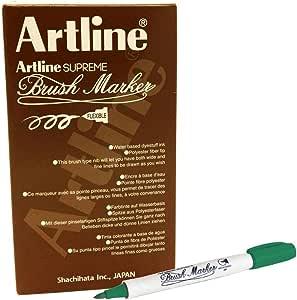 ,Artline FPE-F Supreme Brush Marker, Dark Green Colour, PACK OF 12