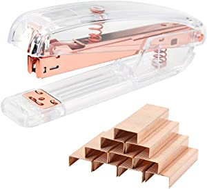 Rose Gold Acrylic Desktop Stapler with 1000pcs Rosegold Staples for Home School Office Stationery Desk Supplies Accessory Kit