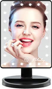 Fabuday Makeup Mirror with Lights, Lighted Makeup Mirror Touch Screen, 24 Led Makeup Mirror Light Adjustable, Dual Power Operated, Color Boxed, Black