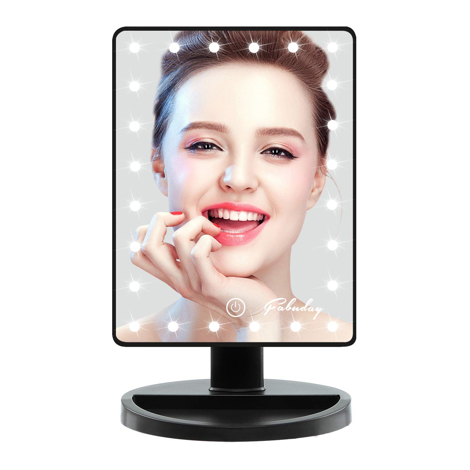Fabuday Makeup Mirror with Lights, Lighted Makeup Mirror Touch Screen, 24 Led Makeup Mirror Light Adjustable, Dual Power Operated, Color Boxed, Black by Fabuday