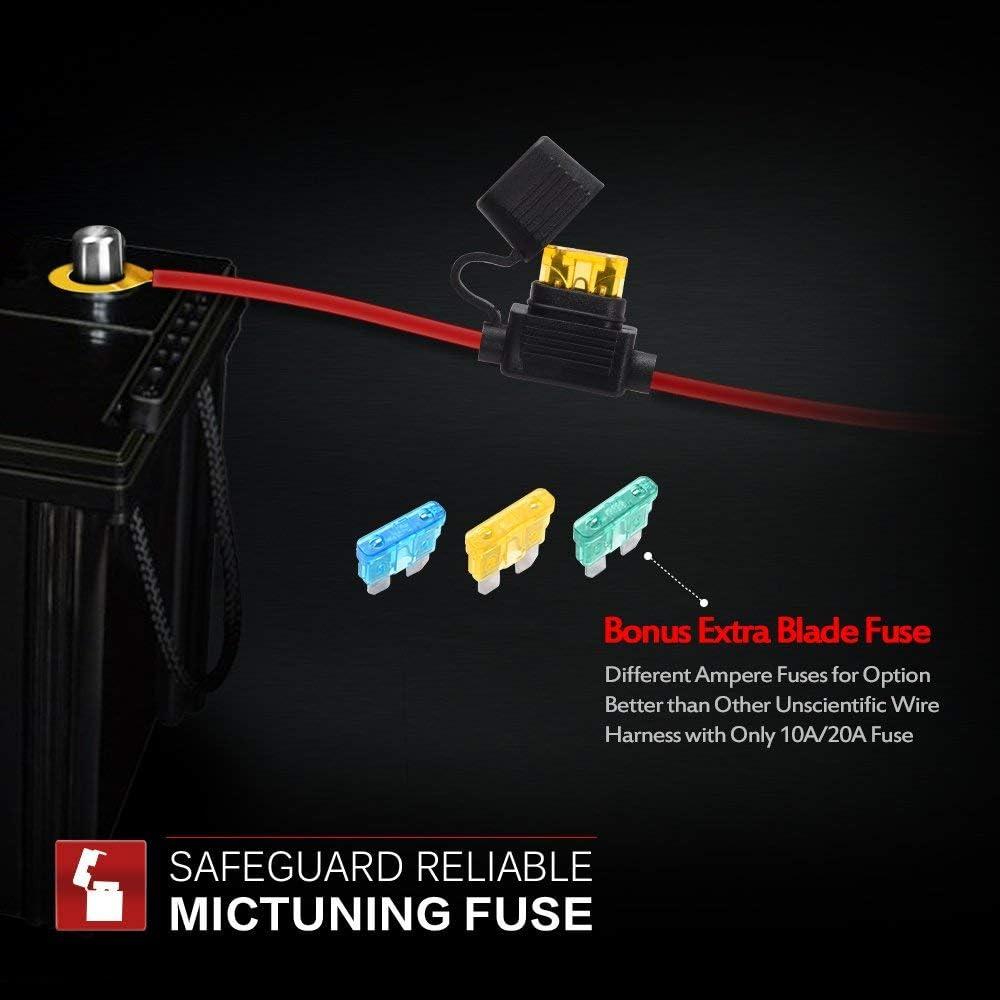 Amazon.com: MICTUNING LED Light Bar Wiring Harness - 40Amp Relay Fuse BLUE  ON-OFF Rocker Switch (REAR LIGHTS): AutomotiveAmazon.com