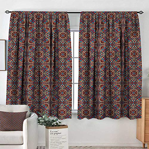 Mozenou Vintage Room Darkening Curtains Kaleidoscope Stained Glass Seemed Image with Colorful Floral Like Detailed Image Customized Curtains 55