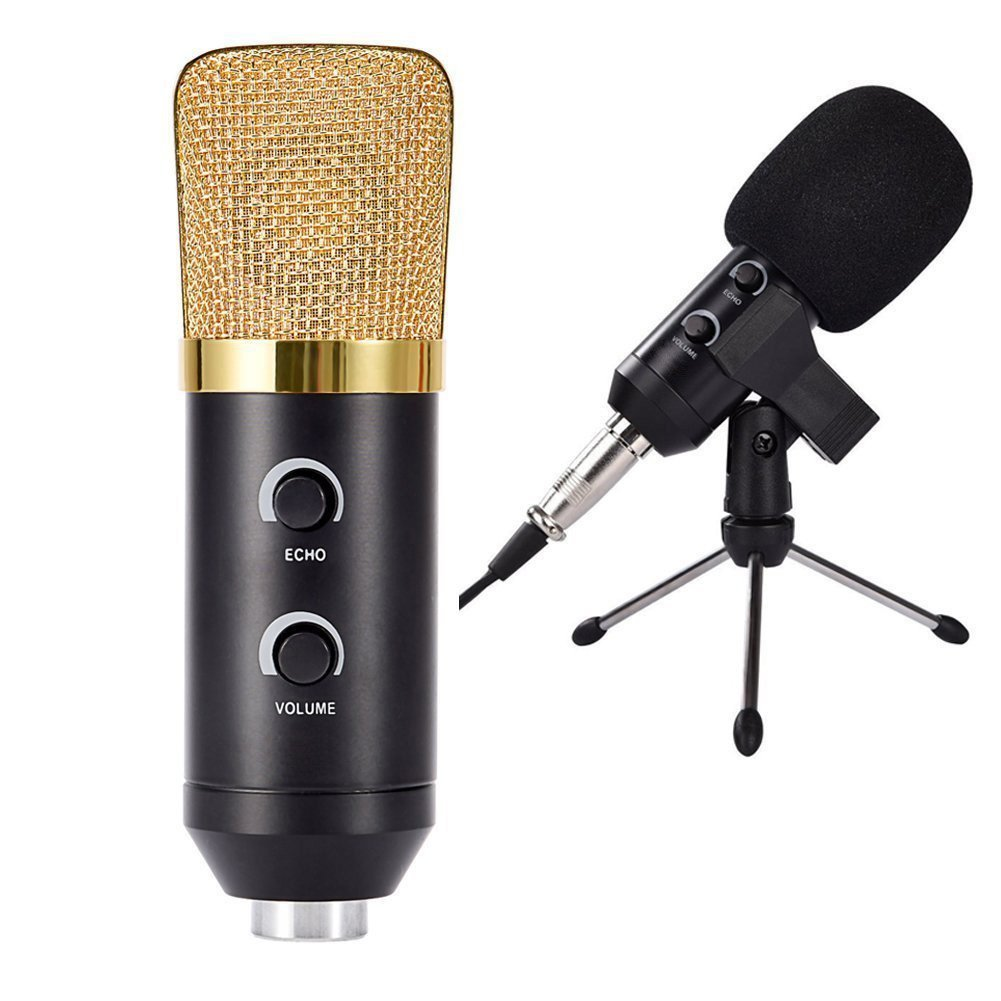 OFKP® Professional Large Diaphragm Studio Broadcasting & Recording Vocal Condenser Microphone with Mount Clamp and Desktop Tripod Stand, Powered by USB - No Mixer or Phantom Power Needed