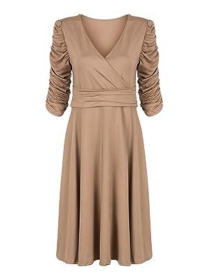 Choies Women Brown Wrap V-neck Ruched Waist Vintage Party Cocktail Midi Dress L