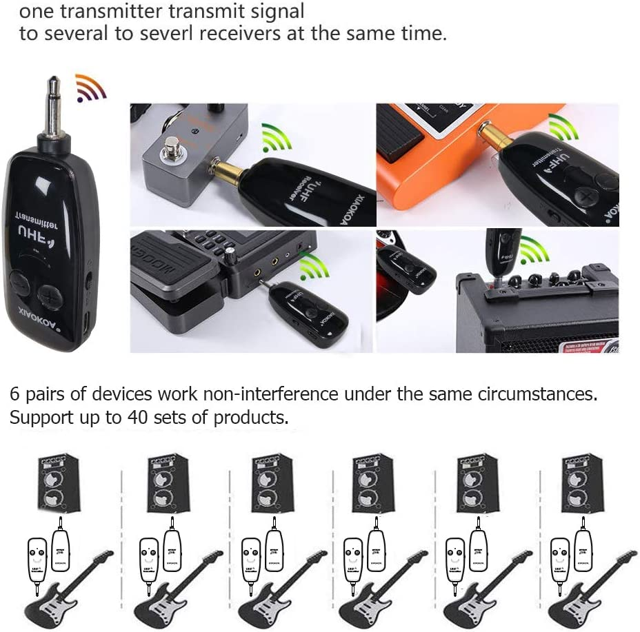 UHF Rechargeable Wireless Guitar System XIAOKOA Guitar Accessories Digital Audio Amplifier for Electric Bass Guitar Wireless Guitar Transmitter Receiver