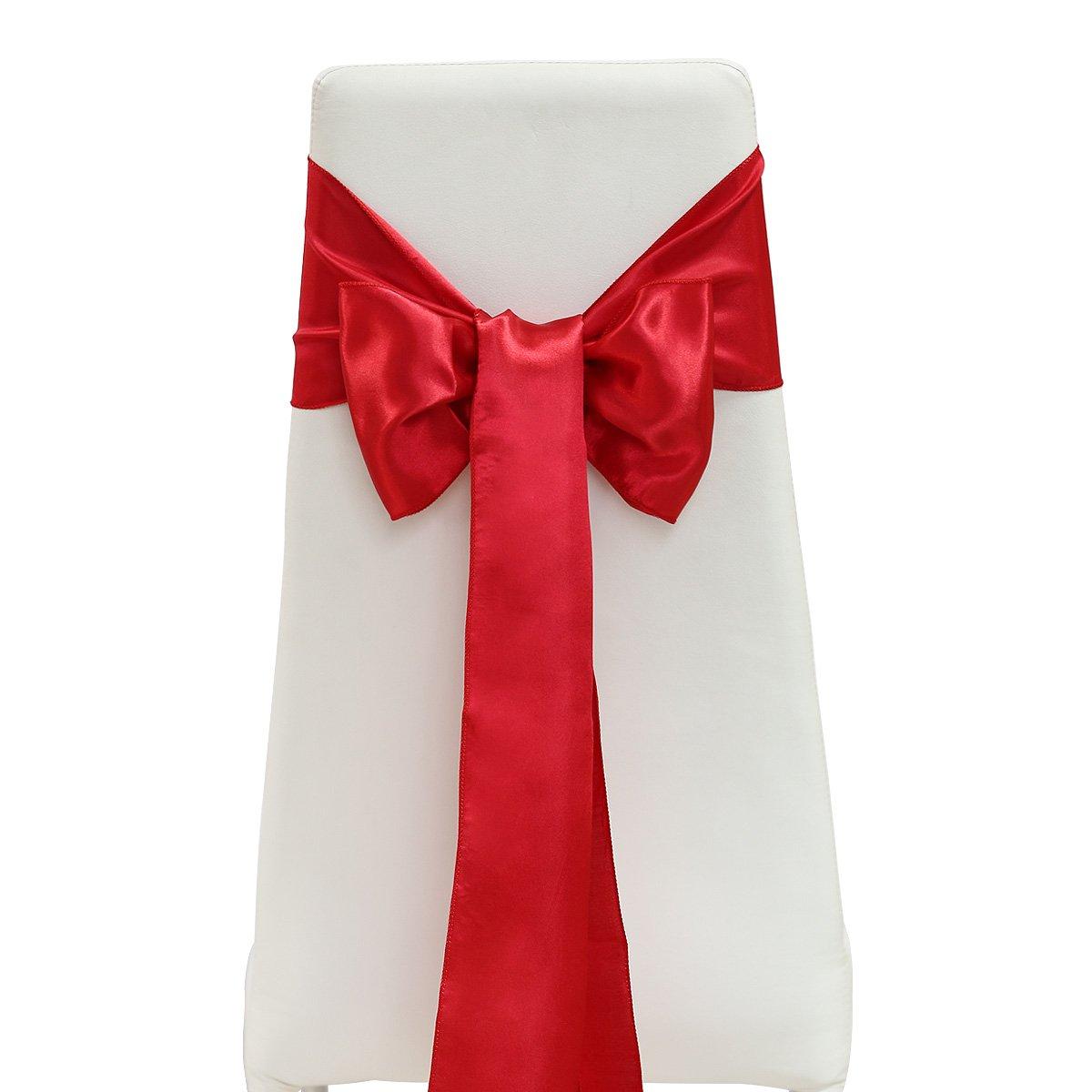 25er Rosso Sedia fiocco in raso fiocco stuhlhussen nastri matrimonio tischleufer Party ADDOBBI