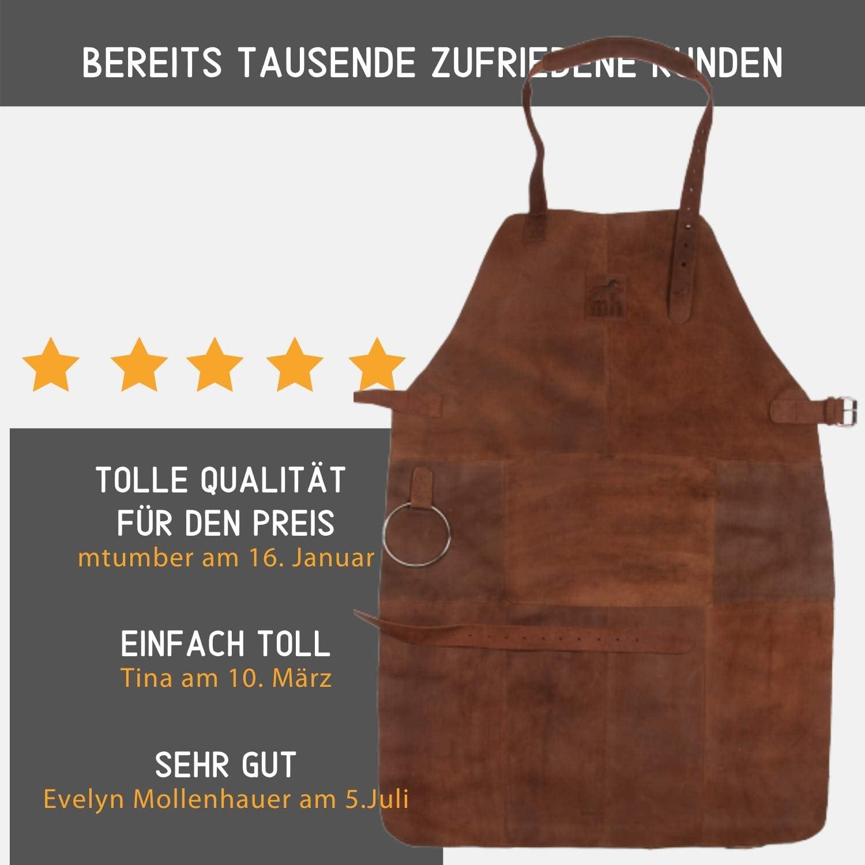 con protezione da calore grasso e scintille grembiule da cameriere Grembiule Premium in pelle Michael Heinen per barbecue in pelle di bufalo