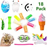 Volscity Bundle Sensory Fidget Toys Set-Squishies Unicorn/Ice cream/Soft Egg Slime/Flippy Chain/Ultralight clay/Mesh & Marble Toy/Soybeans Squeeze Grape Ball,Stretch Toys Children/Adult