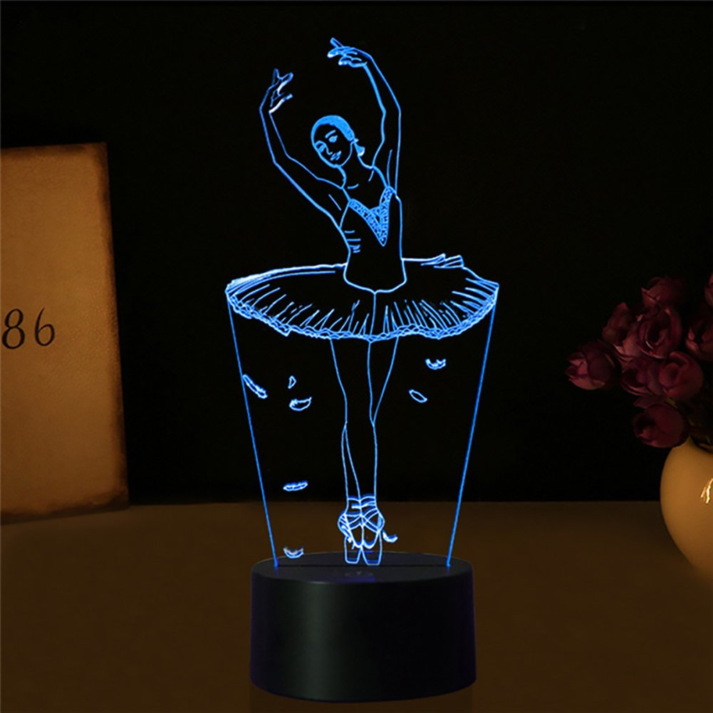 3D Girl Lamp, 3D Illusion Ballet Dancer Girl Night Light, YKL World 7 Color Changing Touch Switch Table Desk Lamps, Bedroom Decoration Lighting Toys Gifts for Ballet Lover