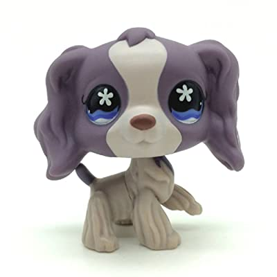 Littlest Pet Shop Collection LPS Figure #748 White Dipped Ears Cocker DogRare Littlest Pet Shop #672 Purple Cocker Spaniel Dog Puppy Flower Eyes: Toys & Games