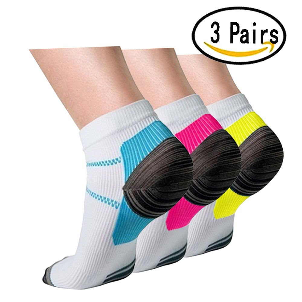 Plantar Fasciitis Support Compression Socks Women Men -3 Pairs- Best Running Ankle Athletic Socks(S/M, Assort2)