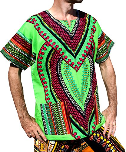 RaanPahMuang Spearhead Heart African Dashiki Shirt Vibrant Colors Afrika Style, XXXXXXX-Large, Malachite (Large Malachite)