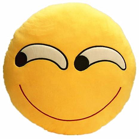 Li & Hi – Cojín redondo con forma de emoticono amarillo redondo Cojín almohada de peluche de peluche