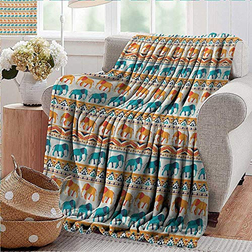 XavieraDoherty Flannel Throw Blanket,Elephant,Horizontal Borders with Exotic Animals Ethnic Geometric Orient Design,Turquoise Orange Cream,for Bed & Couch Sofa Easy Care 60