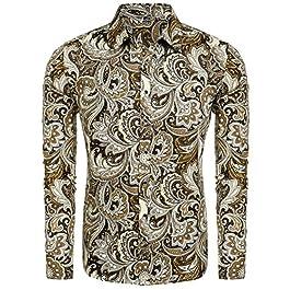 Modfine Men's Fashion Floral Print Button Down Casual Long Sleeve Hawaiian Retro Flower Shirt