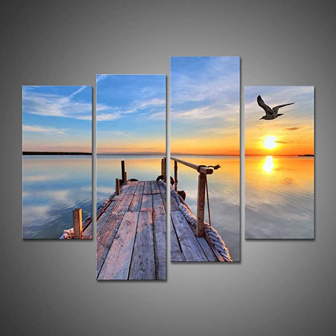 Oil Painting Modern Large Canvas Wall Art 4 Pieces Print Seagull Beach Picture Home Decoration Pier With Bird Flying And Colourful Sky At Colorful Sunset Lake Landscape Giclee Artwork By Ulinked Art Posters Prints Amazon Com