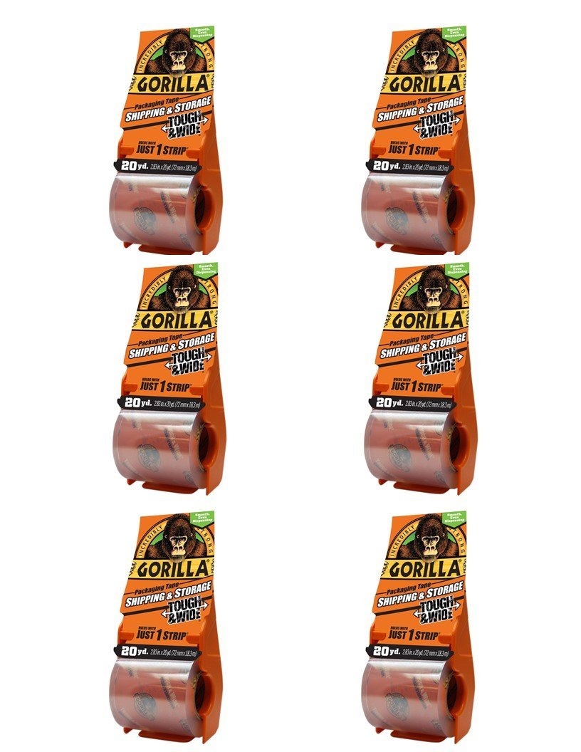 Gorilla 6020010 Packing Tape Tough & Wide Multipack with Dispenser, 2.83'' x 20 yd, Clear, 6 Piece