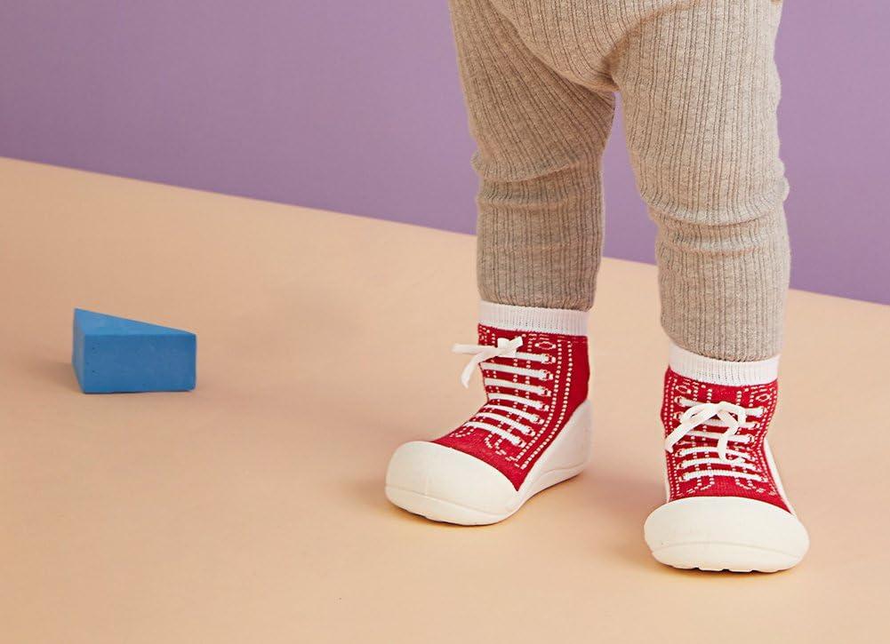 respirant Souple 19 EU Chaussons de marche ergonomiques en coton Attipas Sneakers Chaussons pour b/éb/é et enfant Rouge semelle antid/érapante rouge