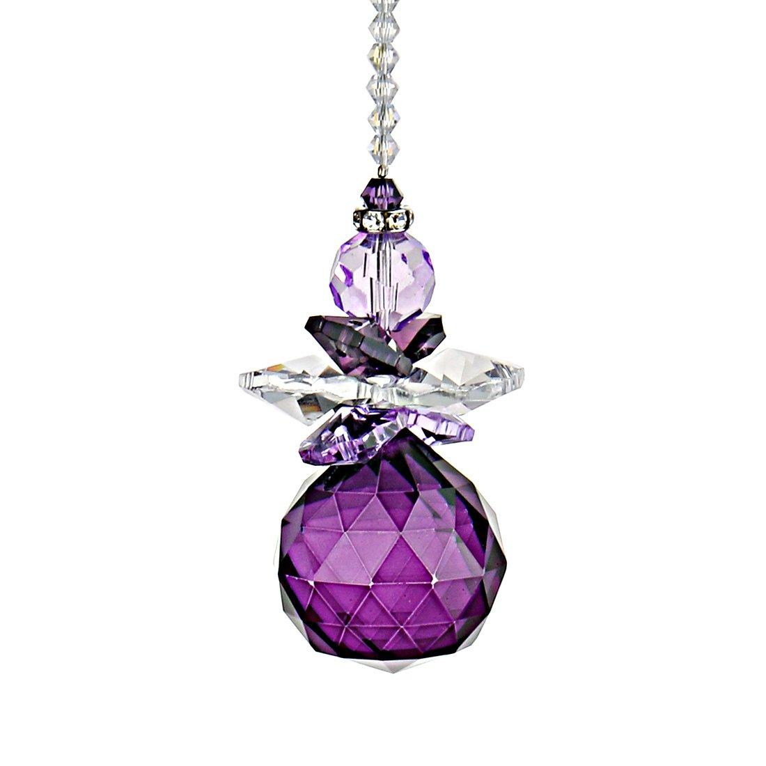 H&D Hanging Crystal Angel Suncatcher Rainbow Maker Guardian Angel Ornament for Home Window Decor (Purple)