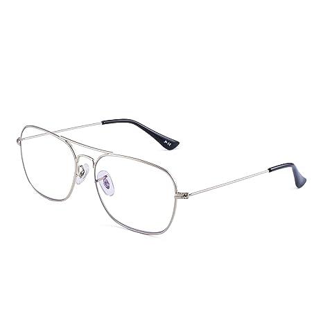 f98d8ee886 Aviador Bloqueo Luz Azul Gafas Computadora,Cuadradas Proteger Ojos Vídeo Anteojos  Anti Deslumbramiento Mujer Hombre