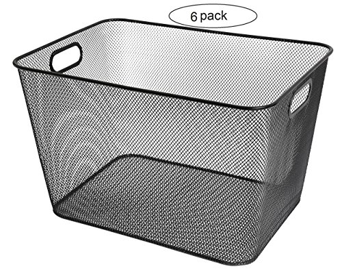 Mesh Open Bin Storage Basket Organizer for Fruits, Vegetables, Pantry Items Toys 2040-6 (6, 14 x 10 x 9)