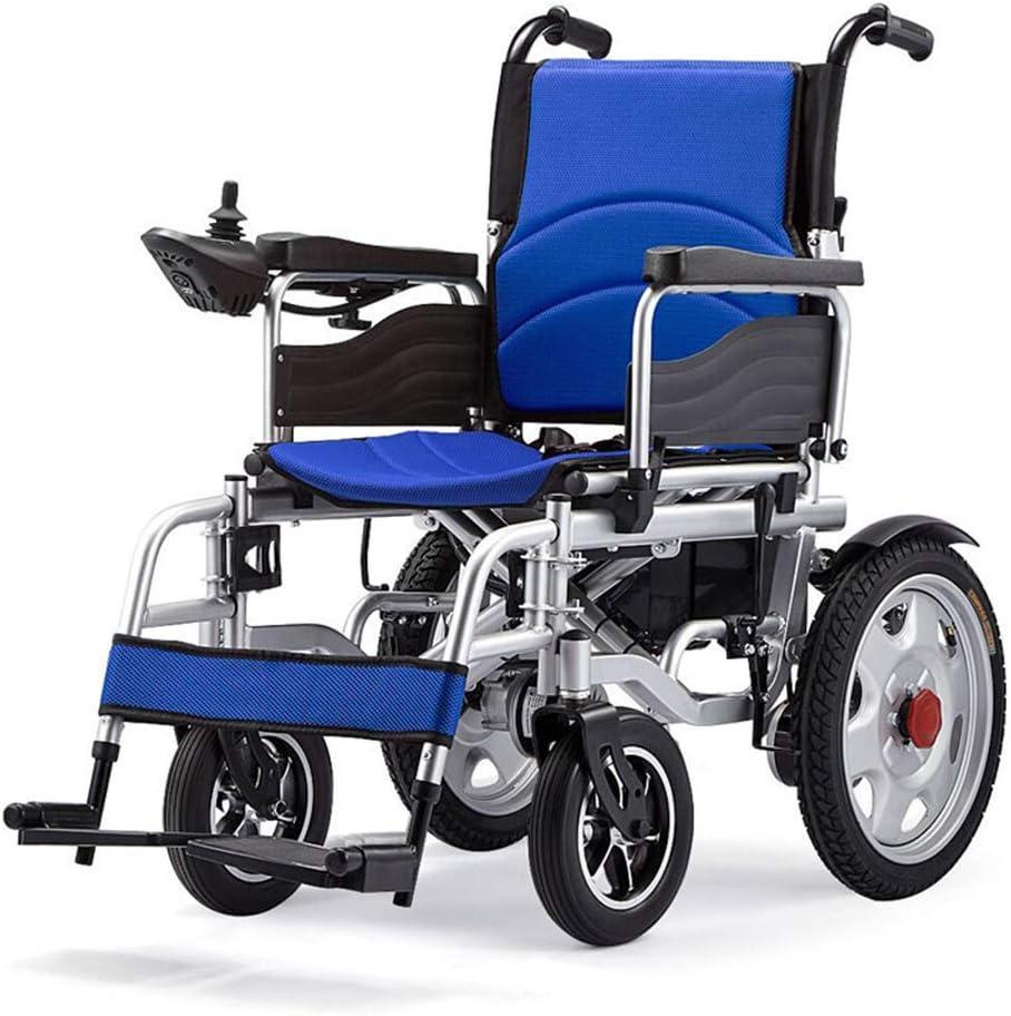 Silla De Ruedas Eléctrica De Acero Al Carbono De Alta Gama Plegable Ancianos Discapacitados Bicicleta Ancianos Pequeño Portátil Scooter De Alta Estabilidad (Batería De Litio 20A, Negro Rojo Azul)