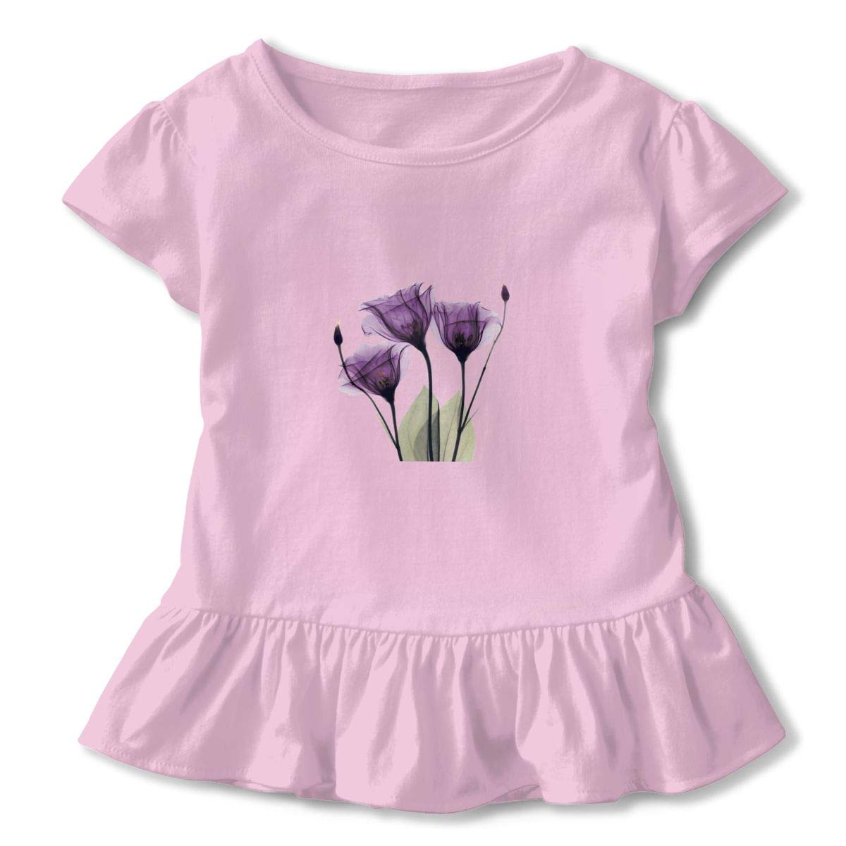 Elegant Tulip Purple Flower Toddler Baby Girl Basic Printed Ruffle Short Sleeve Cotton T Shirts Tops Tee Clothes