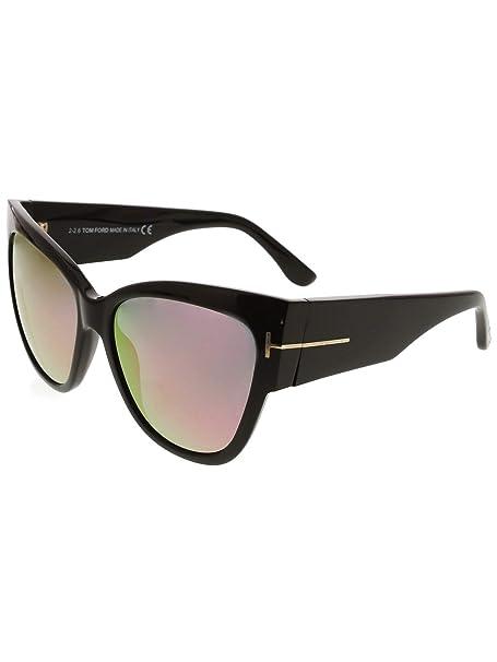 925f4d14bcfa2 Tom Ford Women's Mirrored Anoushka FT0371-01Z-57 Black Oval Sunglasses