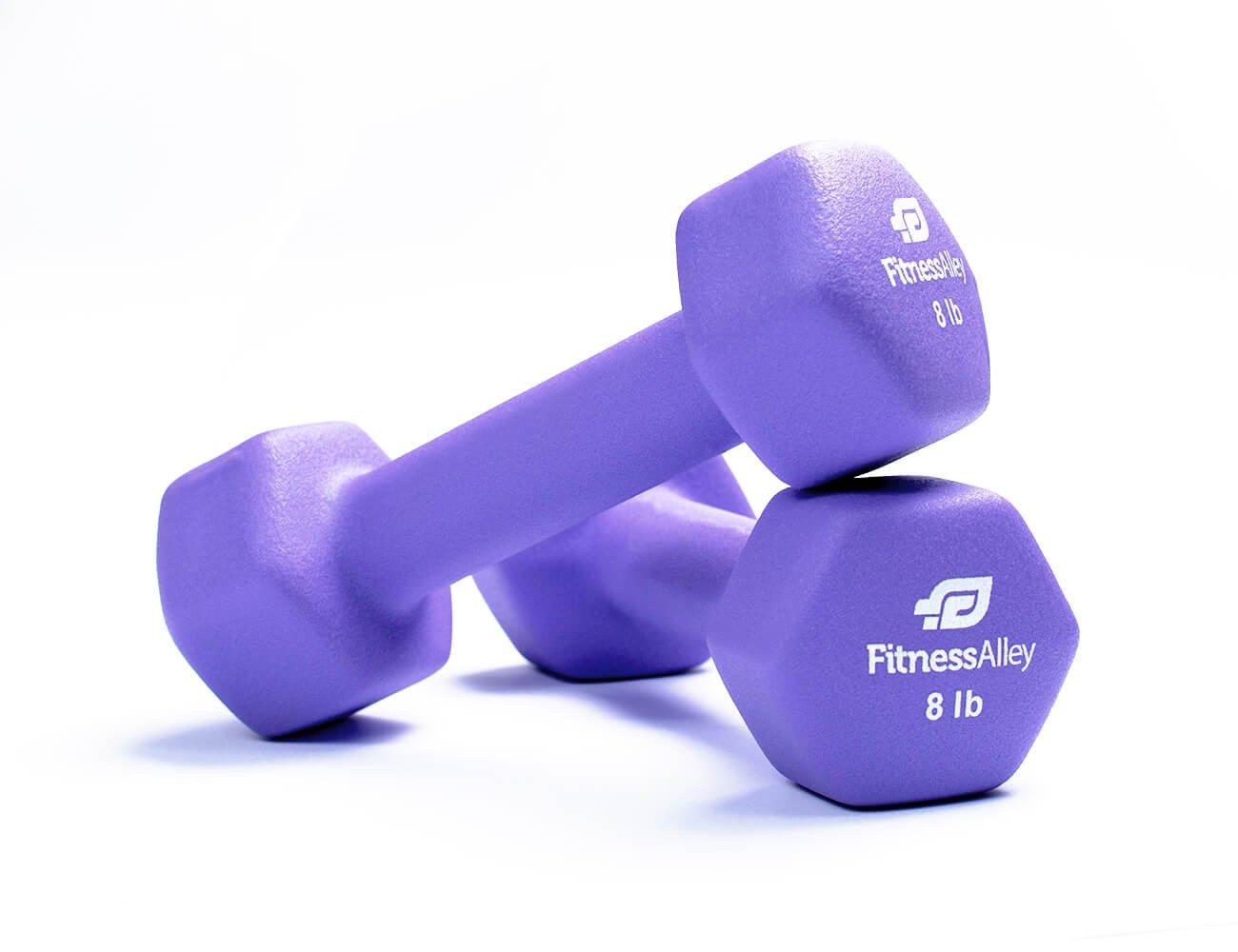 Fitness Alley 8lb Neoprene Dumbbell Set Coated for Non Slip Grip - Hex Dumbbells Weight Set - Hand weights set - Neoprene weight pairs - Hex Hand Weights - Set of two Neoprene Dumbbells, 8 lbs, Purple